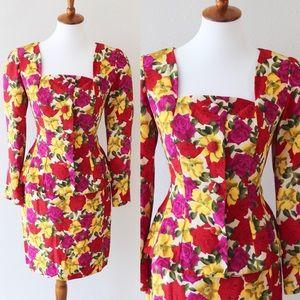 Vintage silk 2 piece suit